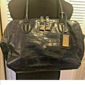 Badgley Mischka Blue Faux Croc  Leather Satchel